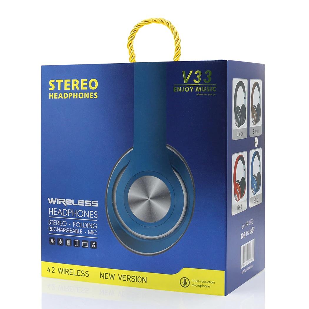 Bezdrátová stereo sluchátka V33 - černá - 429 Kč
