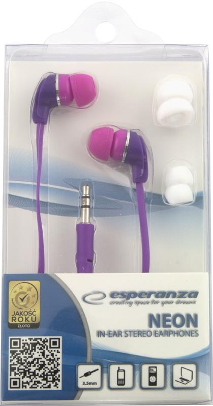 Esperanza EH147V NEON Stereo sluchátka - nová - 89 Kč