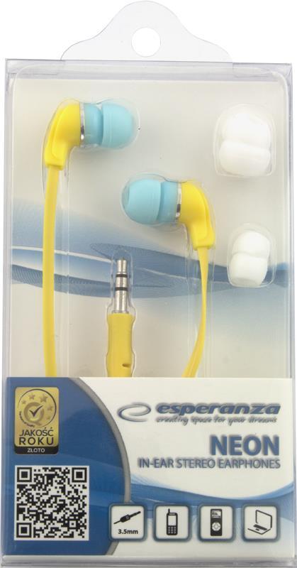 Esperanza EH147Y NEON Stereo sluchátka - nová - 89 Kč