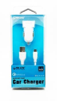 TD-LTE Autonabíječka s odnímatelným microUSB kabelem, 2,4A TD-FC16 - nový - 159 Kč